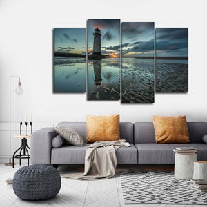 Lighthouse At Twilight Multi Panel Canvas Wall Art - Lighthouse