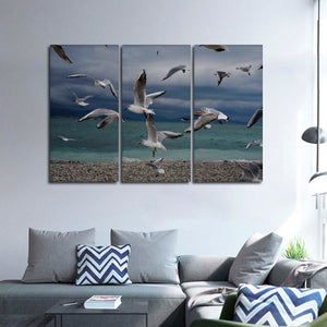 Beach Seagulls Multi Panel Canvas Wall Art - Beach