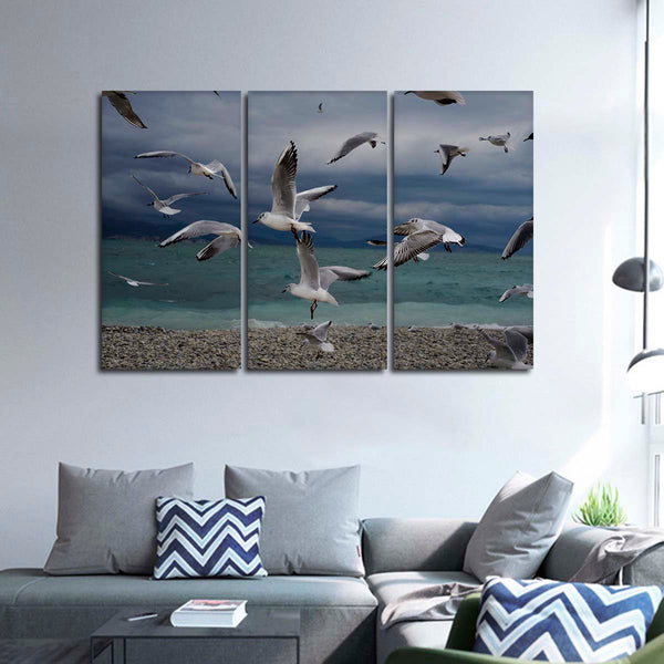 Beach Seagulls Multi Panel Canvas Wall Art