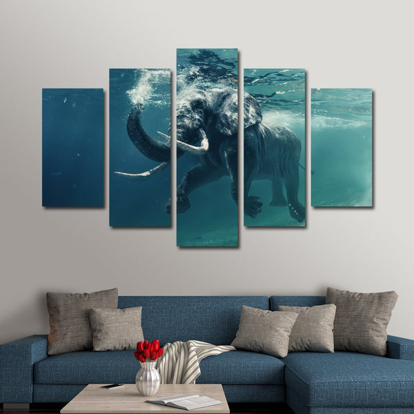Swimming Elephant Multi Panel Canvas Wall Art