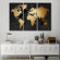 3D Golden World Map Multi Panel Canvas Wall Art