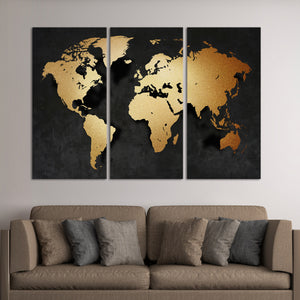 World map page 3 canvas prints elephantstock 3d golden world map multi panel canvas wall art worldmap gumiabroncs