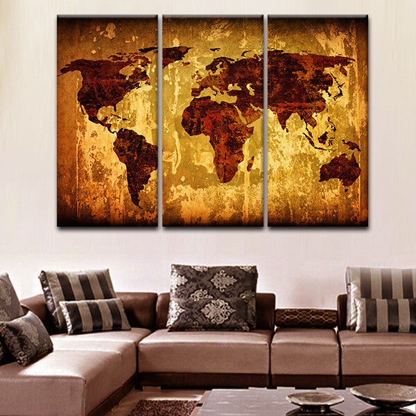 Vintage world map multi panel canvas wall art elephantstock vintage world map multi panel canvas wall art gumiabroncs Image collections