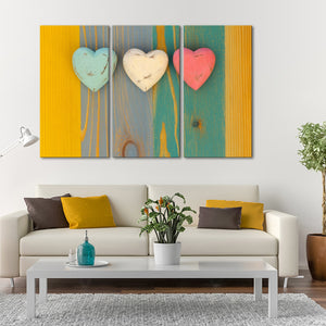 3 Hearts Multi Panel Canvas Wall Art - Relationship