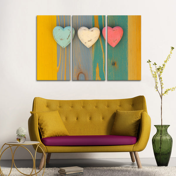 3 Hearts Multi Panel Canvas Wall Art | ElephantStock