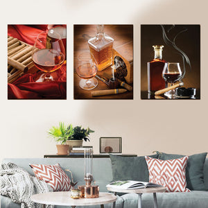 Cigar Club Multi Panel Canvas Wall Art - Whiskey