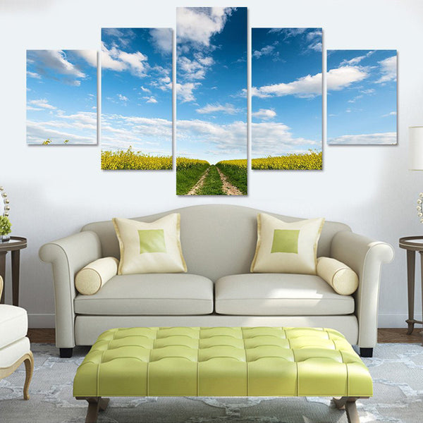 Sunflower Field Multi Panel Canvas Wall Art