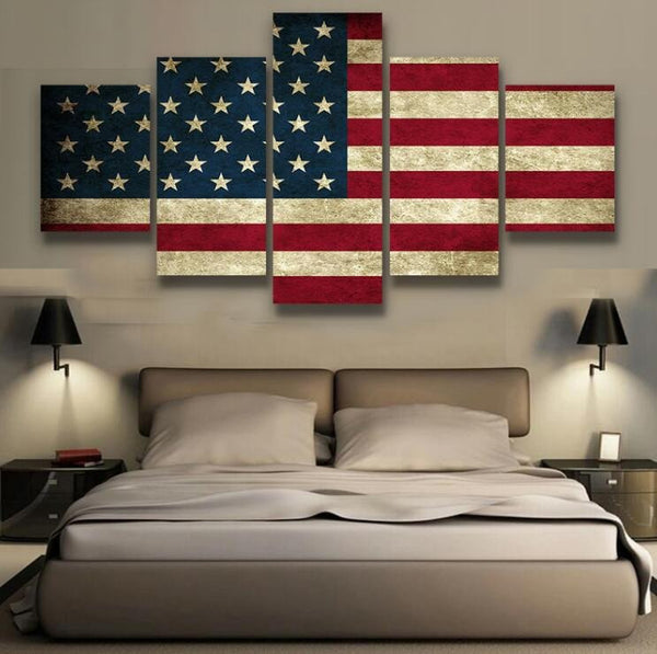 Elegant Rustic American Flag Multi Panel Canvas Wall Art