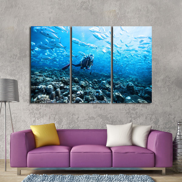 Ocean Dive Multi Panel Canvas Wall Art