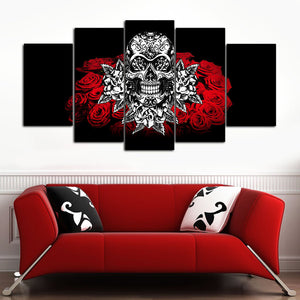White Skull Multi Panel Canvas Wall Art - Gothic
