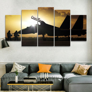 Combat Flight Multi Panel Canvas Wall Art - Airplane