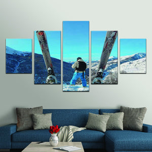 The Mountain Is Calling Multi Panel Canvas Wall Art - Ski