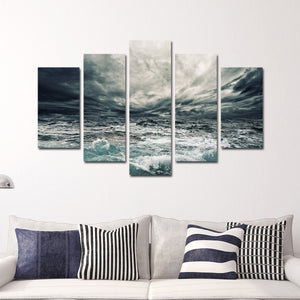 Storm At Sea Multi Panel Canvas Wall Art - Boat