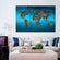 Ocean World Map Multi Panel Canvas Wall Art