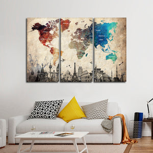 Abalone World Map Masterpiece Multi Panel Canvas Wall Art - World_map