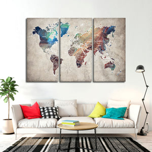 Abalone World Map Multi Panel Canvas Wall Art - World_map
