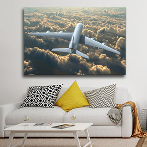 Above the Clouds Multi Panel Canvas Wall Art - Airplane