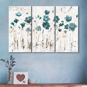 Abstract Balance VI Blue Multi Panel Canvas Wall Art - Flower