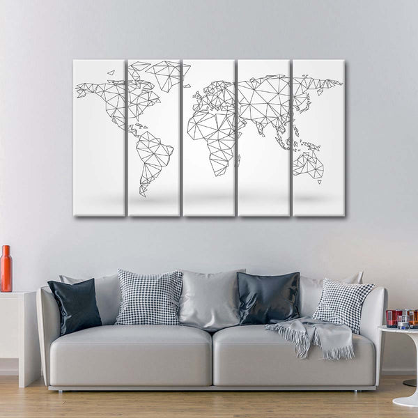Abstract Connectivity World Map Multi Panel Canvas Wall Art