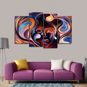 Abstract Emotions Multi Panel Canvas Wall Art - Color