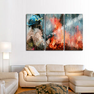 Abstract Firefighter Multi Panel Canvas Wall Art - Firefighters