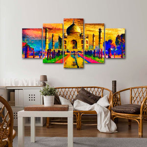 Abstract Taj Mahal Multi Panel Canvas Wall Art - India