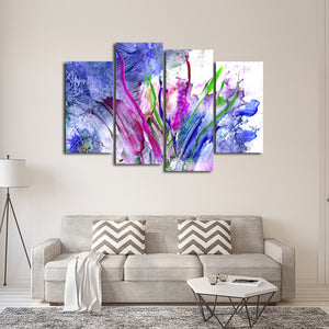 Abstract Flowers Multi Panel Canvas Wall Art - Abstract