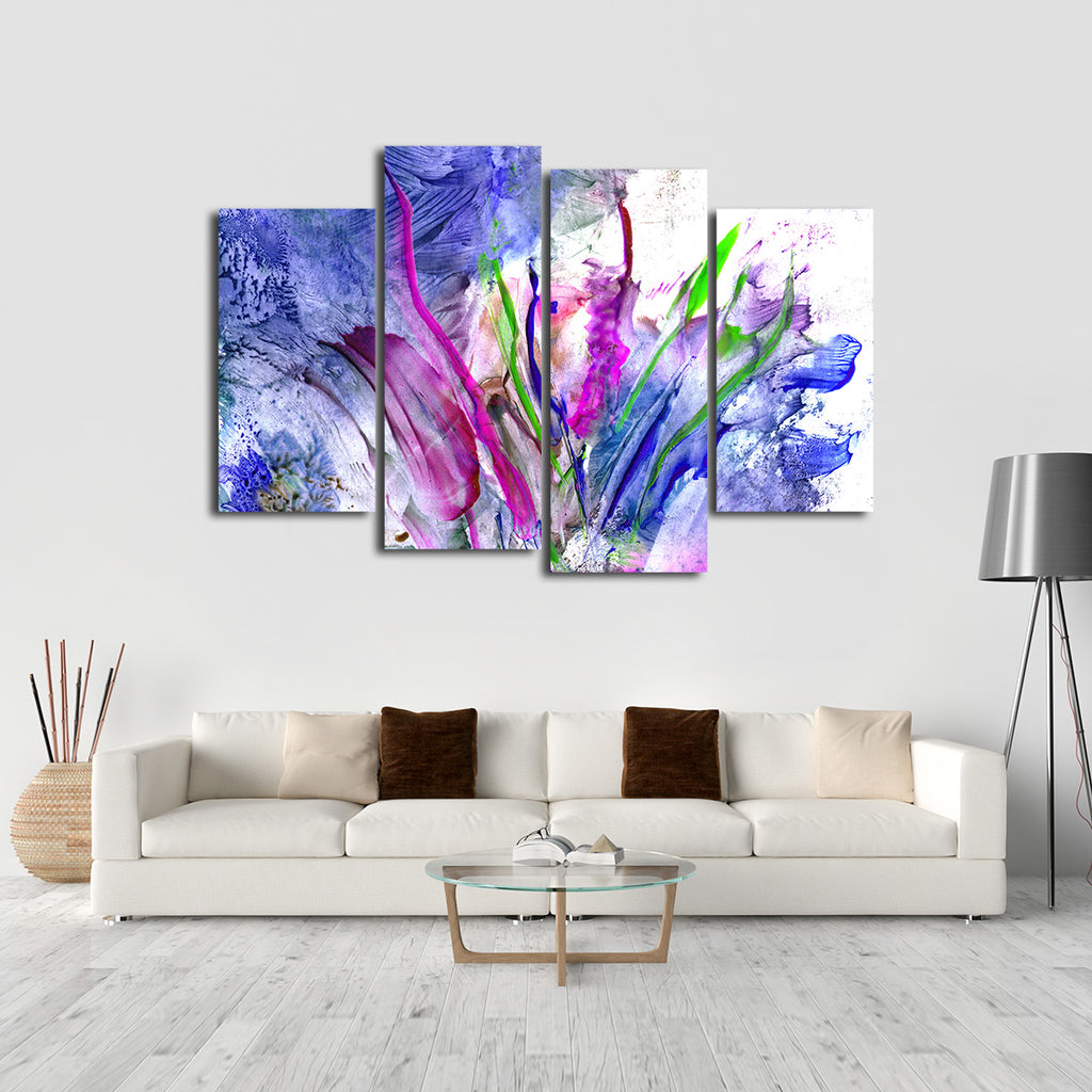 abstract flowers multi panel canvas wall art elephantstock. Black Bedroom Furniture Sets. Home Design Ideas