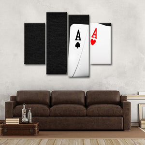 Ace Playing Cards Multi Panel Canvas Wall Art - Poker