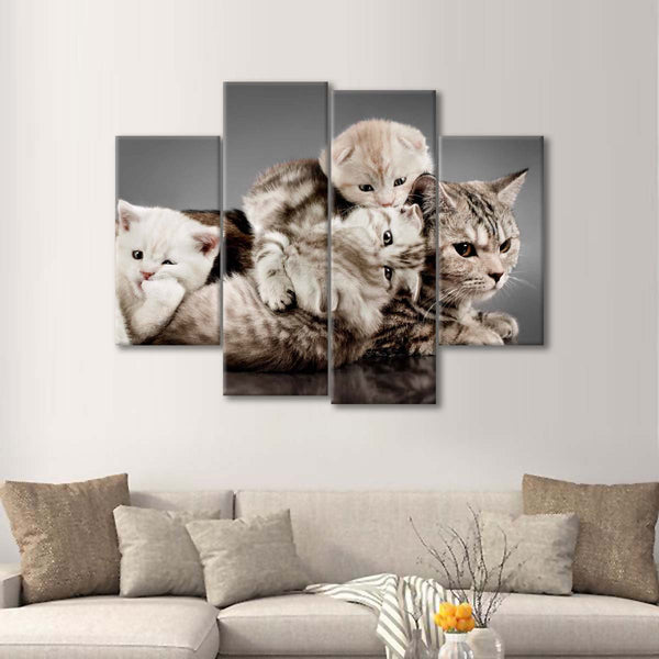 Adorable Cat Family Multi Panel Canvas Wall Art