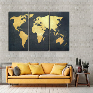 Adventure Awaits World Map Multi Panel Canvas Wall Art - World_map