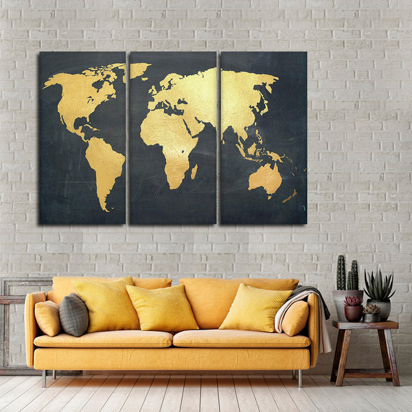 Adventure Awaits World Map Multi Panel Canvas Wall Art