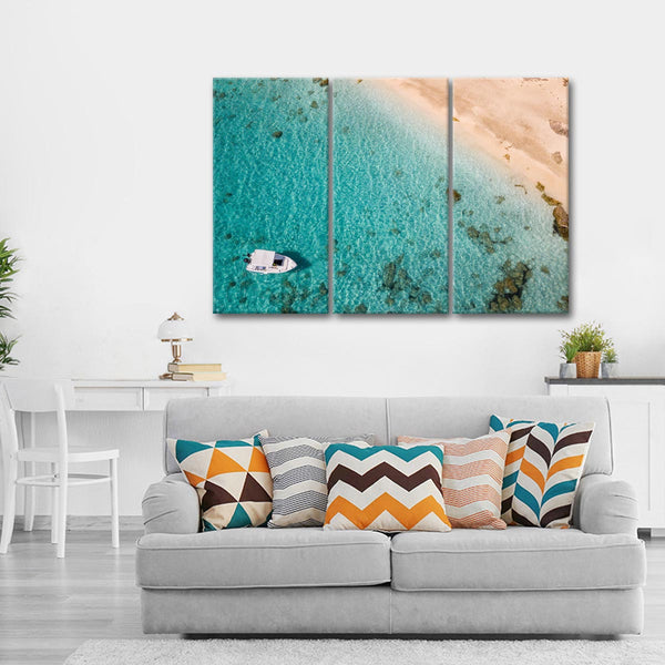 Aerial Yacht Cruise Multi Panel Canvas Wall Art