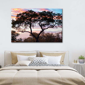 African Sunset Multi Panel Canvas Wall Art - Nature