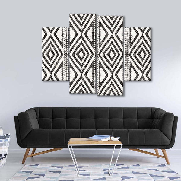 African Wild Pattern III BW Multi Panel Canvas Wall Art