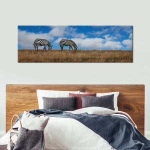 African Zebras Grazing Multi Panel Canvas Wall Art - Animals
