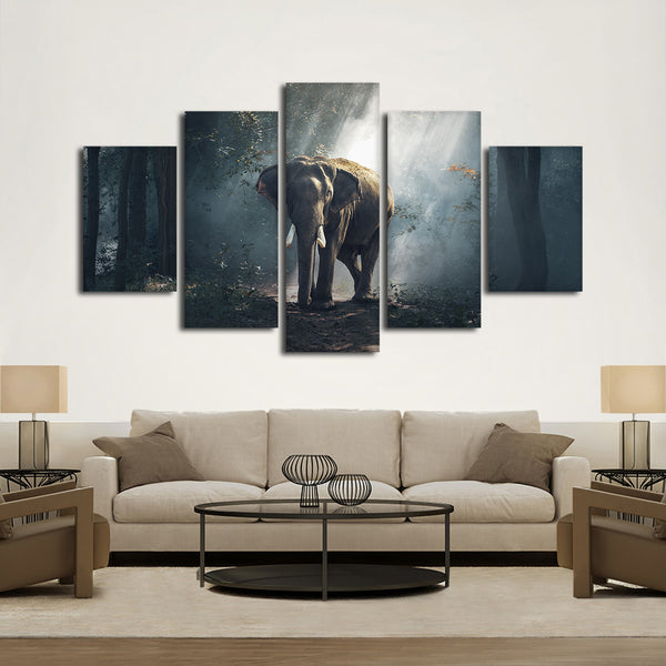 African Forest Elephant Multi Panel Canvas Wall Art