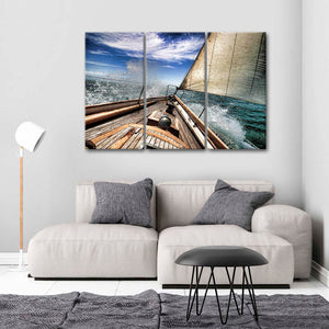 Against The Waves Multi Panel Canvas Wall Art - Boat