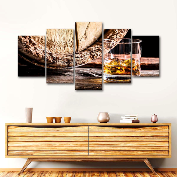 Aged Whiskey Multi Panel Canvas Wall Art