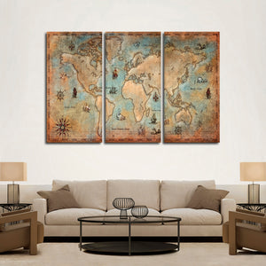 Aged World Map Multi Panel Canvas Wall Art - World_map