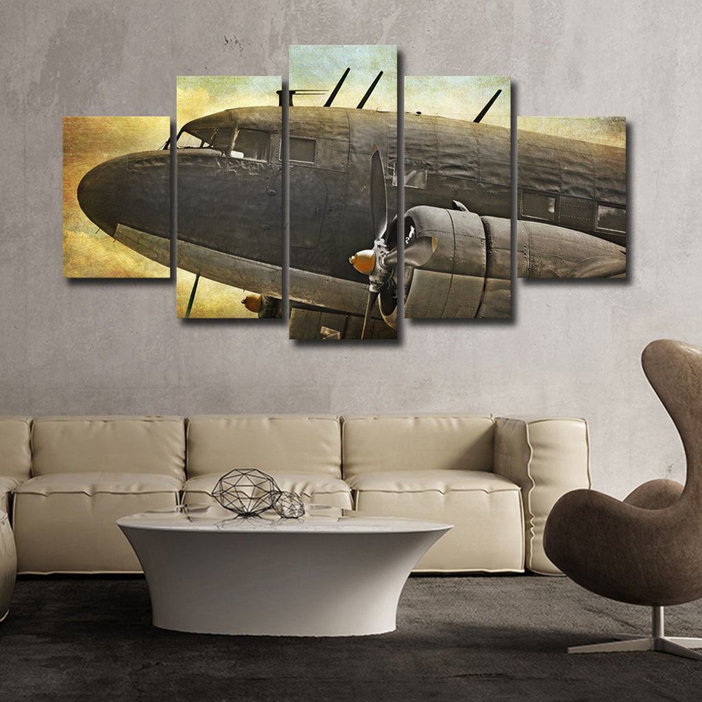 Airplane Old Photograph Multi Panel Canvas Wall Art