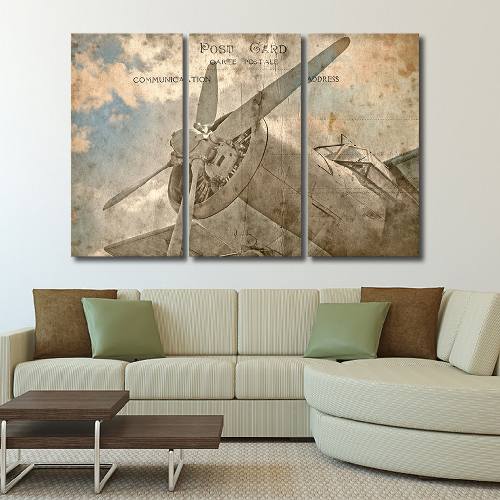 airplane postcard multi panel canvas wall art elephantstock. Black Bedroom Furniture Sets. Home Design Ideas