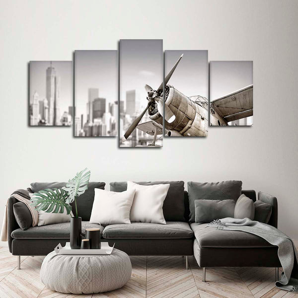 Airplane Skyline Multi Panel Canvas Wall Art