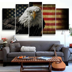 Rustic Eagle Flag Multi Panel Canvas Wall Art