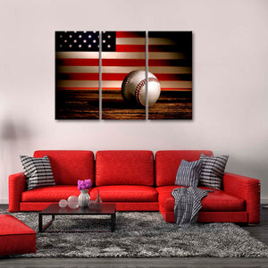 American Baseball Multi Panel Canvas Wall Art - Baseball