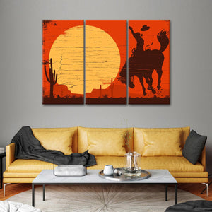 American Cowboy Multi Panel Canvas Wall Art - Cowboy