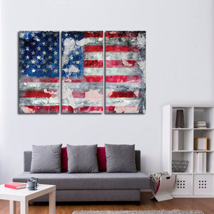 American Graffiti Flag Multi Panel Canvas Wall Art - America