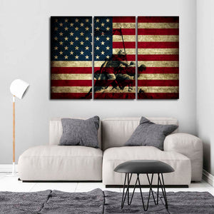 American Memorial Day Flag Multi Panel Canvas Wall Art - Army