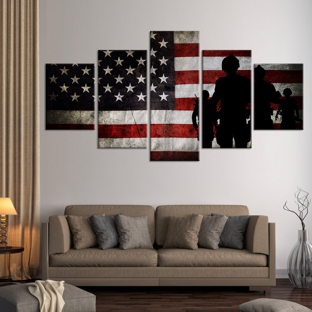 american flag living room mission flag multi panel canvas wall 12874
