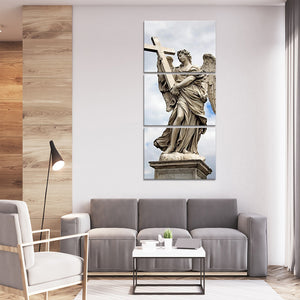 Angel Holding Cross Multi Panel Canvas Wall Art - Religion